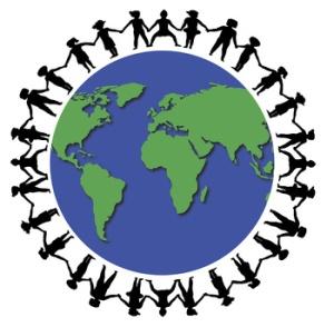 illustration of children holding hands around the world