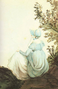 Portrait of JAne Austen from the back