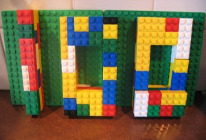 the number 100 made from legos