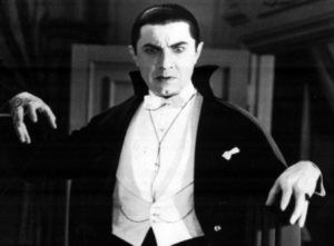 black and white photo of Bela Lugosi as Dracula