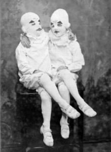 As if one clown wasn't creepy enough, we have clown twins.  From:  Miss Peregrine