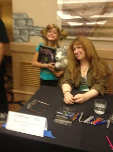 A very blurry picture of Wendy Froud and fan.