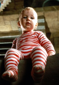 Toby, as a baby in Labyrinth.  Wendy assures us he was perfectly safe and in no danger of falling, or of being eaten by goblins.