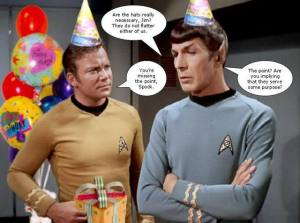 Kirk and Spock in Birthday Hats