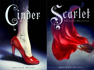 "covers of ""Cinder"" and ""Scarlet"""