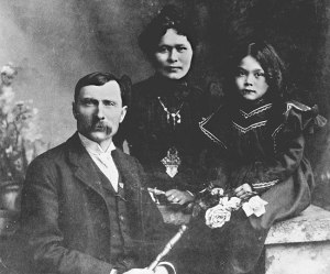 George Carmack and , the purported discoverer of the Klondike gold, and his wife, Kate Carmack.  She was born Shaaw Tia and was a Tinglit First Nation Woman.  She was with George Carmack when gold was discovered and some say she may have been the one to actually discover it.  They had one daughter together, Graphie Grace.