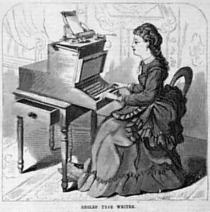 woman at Victorian typewriter