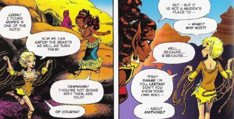 Dewshine is flat as a board, while Leetah is a more traditionally drawn comic book woman with big breasts and a tiny waist - but both are considered beautiful in  Elfquest.