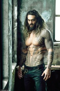 shirtless Jason Momoa as Aquaman