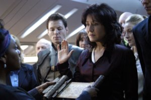 Laura Roslin swearing in as President in Battlestar Galactica