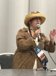 me (Carrie) in Steampunk attire, speaking at Worldcon