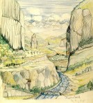 drawing of river winding through canyon by J.R.R. Tolkien